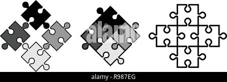 Simple jigsaw puzzle pieces. Vector objects snap to each other, outline weight and fill colour can be adjusted. - Stock Photo