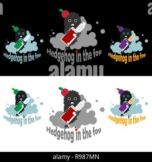 Vape hedgehog in the fog ,flat logotypes vector set  with aple  in three colors options, for web and print for shope and cafe. - Stock Photo