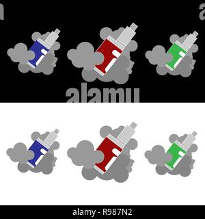 Vape in the fog ,logotypes vector set  with in three color, for web and print for shope and cafe. - Stock Photo