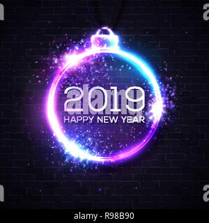 2019 happy new year neon sign on brick wall dark background festive lights christmas decoration glowing bauble frame with light explosion firework particles sparkles decorative vector illustration r98b90