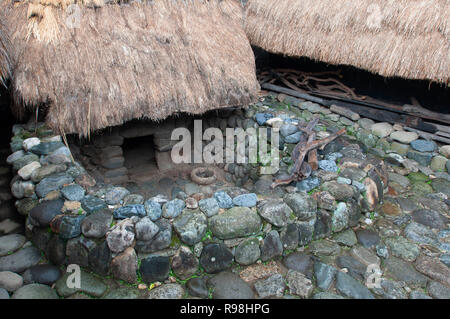 Traditional farmer's houses at Bontoc Museum at Bontoc, Bontoc Rice Terraces, Mountain Region, Luzon, Philippines, Asia, South Asia - Stock Photo
