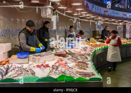 Barcelona, Spain - March 27, 2018: Seafood market at Mercat de Sant Josep de la Boqueria, a large public market in Barcelona, Spain - Stock Photo