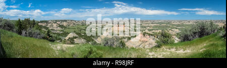 Panorama of Theodore Roosevelt National Park, comprising three geographically separated areas of badlands in western North Dakota. - Stock Photo