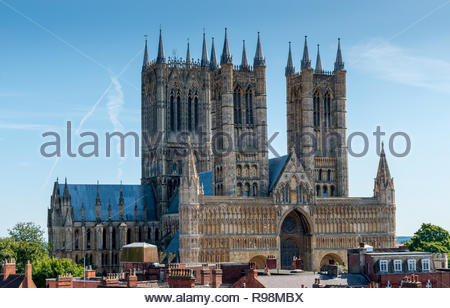 Lincoln Cathedral in the sushine - Stock Photo