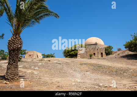 Old ruins of fortress, located at Rethimno town, Crete island, Greece - Stock Photo