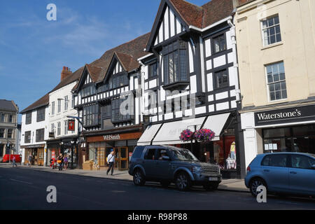 Mock Tudor buildings on High St Stratford Upon Avon England UK - Stock Photo