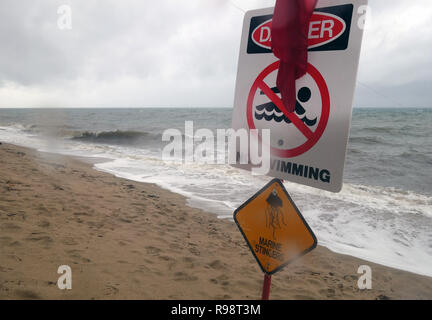 Wild weather and stingers close beaches to swimming, Holloways Beach, Cairns, Queensland, Australia. No PR Stock Photo