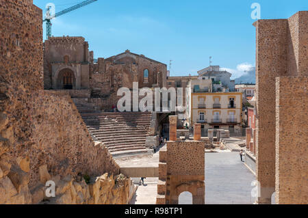 CARTAGENA, SPAIN – APRIL 12, 2017: Views of the Roman Theatre of Cartagena, Spain. It was built between 5 and 1 BC. - Stock Photo