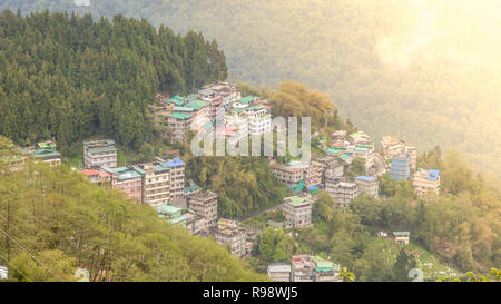 Bird's eye view of Gangtok, the capital city of Sikkim, India - Stock Photo