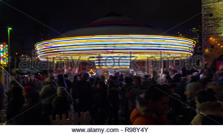 Christmas Market in the historic Distillery District. Long exposure. - Stock Photo