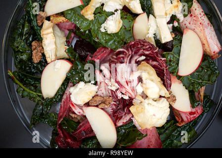Beetroots leaves salad with hot goat cheese - Stock Photo