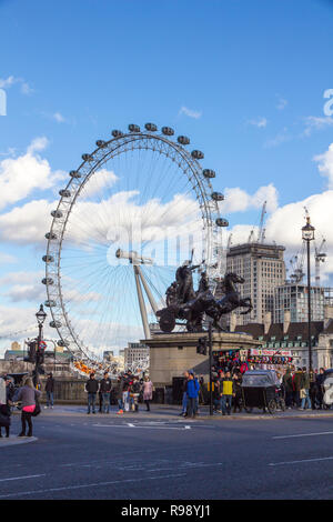 LONDON, ENGLAND - FEBRUARY 12, 2018. Statue of Boadicea and Her Daughters erected June 1902, Westminster, London, England, February 12, 2018. - Stock Photo