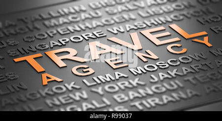 Word cloud over black background with the text Travel agency witten in orange letters. Business travel services concept. 3D Illustration - Stock Photo