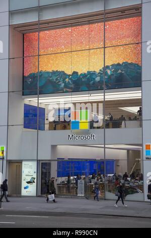 Microsoft store on 5th Avenue in midtown Manhattan, New York City. - Stock Photo