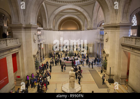 Looking across the Great Hall  entrance at the Metropolitan Museum of Art in New York City. - Stock Photo
