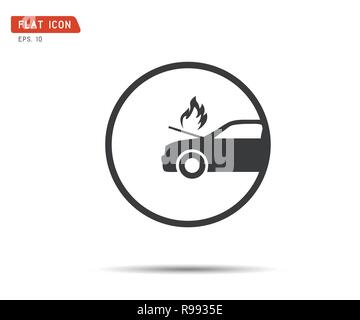 car fired Vehicle insurance Icon. Flat pictograph Icon design, Vector illustration - Stock Photo