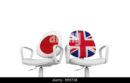 Japan and Great Britain business chairs. Internationl relationship concept. 3D Rendering - Stock Photo