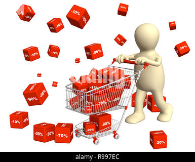 3d puppet, bought the goods at a discount. Isolated over white - Stock Photo