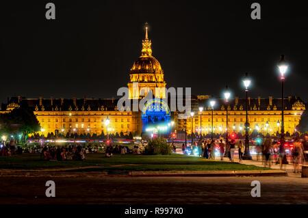 Esplanade des Invalides at night - Paris, France - Stock Photo