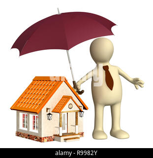 Concept - home insurance. Objects isolated over white - Stock Photo