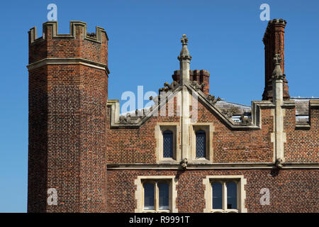 LONDON, UK - May 11, 2018. Hampton Court Palace which was originally built for Cardinal Thomas Wolsey 1515, later became King Henry VIII residence. Lo - Stock Photo