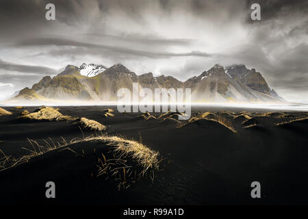 Impressice scenery at Vestrahorn with the touch of another planet. - Stock Photo