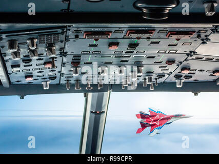 Military supersonic fighters in battle on the sky. - Stock Photo