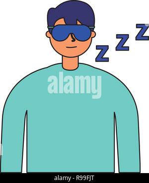 man sleeping with mask white background vector illustration - Stock Photo