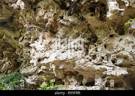 man rock climbing on a steep limestone climb in Thakhek Laos - Stock Photo