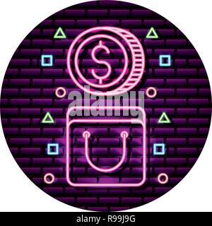 shopping bag coin money neon wall vector illustration
