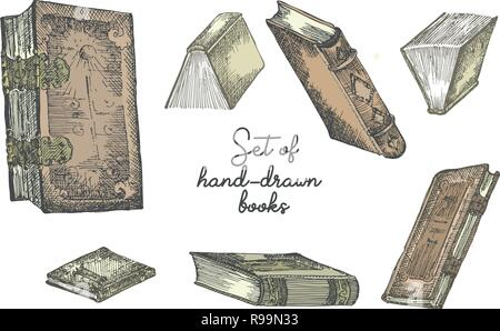 Set of hand drawing sketch books for concept vintage design fair or festival flyer, paper, banner, school library retro poster, bookshop advertising. in engraving style - Stock Photo