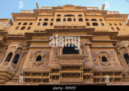 Patwon Ki Haveli, Jaisalmer, Rajasthan, India. The first among these havelis was commissioned and constructed in the year 1805 by Guman Chand Patwa