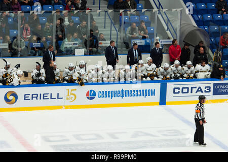 PODOLSK, RUSSIA - OCTOBER 16, 2018: Severstal team subs bench during hockey game Vityaz vs Severstal on Russia KHL championship on October 16, 2018, in Podolsk, Russia. Vityaz won 4:1 - Stock Photo