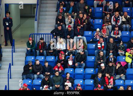 PODOLSK, RUSSIA - OCTOBER 16, 2018: Unidentified fans on tribune on hockey game Vityaz vs Severstal on Russia KHL championship on October 16, 2018, in Podolsk, Russia. Vityaz won 4:1 - Stock Photo