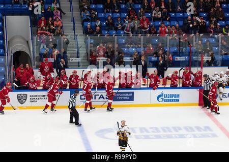 PODOLSK, RUSSIA - OCTOBER 16, 2018:  on hockey game Vityaz vs Severstal on Russia KHL championship on October 16, 2018, in Podolsk, Russia. Vityaz won 4:1 - Stock Photo