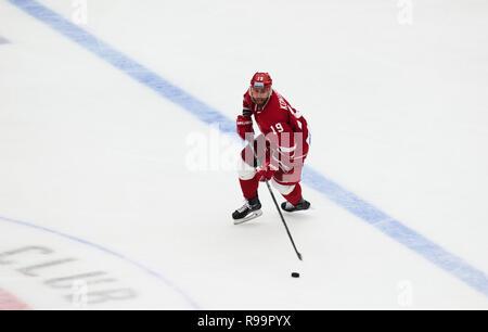 PODOLSK, RUSSIA - OCTOBER 16, 2018: N. Komarov (19) dribble on hockey game Vityaz vs Severstal on Russia KHL championship on October 16, 2018, in Podolsk, Russia. Vityaz won 4:1 - Stock Photo