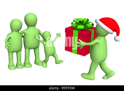 Santa Claus, a giving gift to the family. Isolated over white - Stock Photo