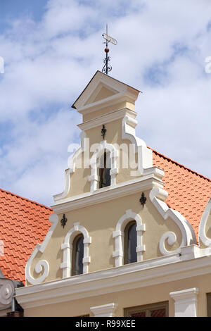 Medieval gable in the old town of Wismar, the Hanseatic city in Northern Germany - Stock Photo