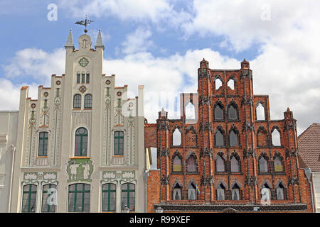 Two historic gables at market place in Wismar in Germany - Stock Photo