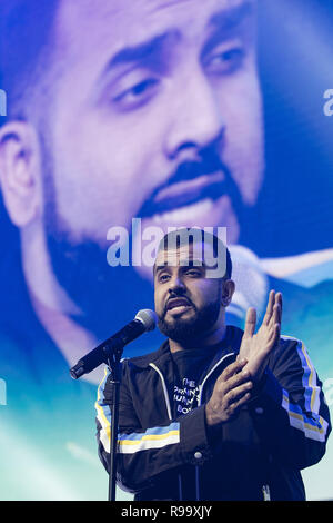 Artists perform at the Roundhouse for Music 4 Mental Health  Featuring: Hussain Manawer Where: London, United Kingdom When: 18 Nov 2018 Credit: Neil Lupin/WENN - Stock Photo