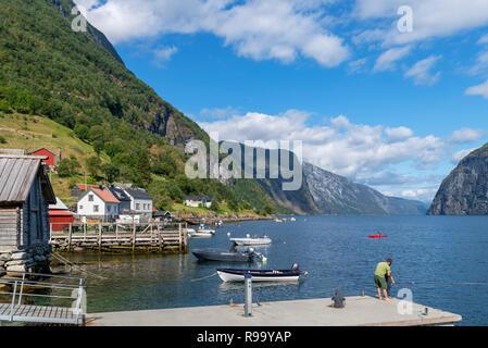 Waterfront in Undredal, Aurlandsfojord, Sognefjord, Sogn og Fjordane, Norway - Stock Photo