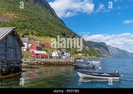 Waterfront in Undredal, Aurlandsfjord, Sognefjord, Sogn og Fjordane, Norway - Stock Photo