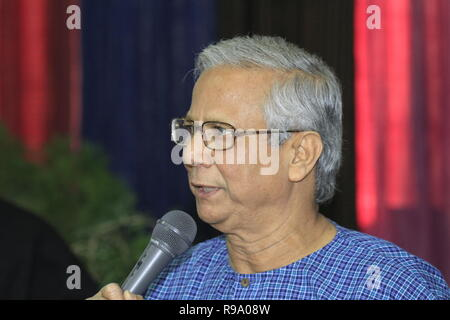 Portrait of Nobel Prize Laureate Professor Muhammad Yunus, who won the Nobel Peace Prize in 2006. Yunus founded the Grameen Bank, known as the 'Bank o - Stock Photo