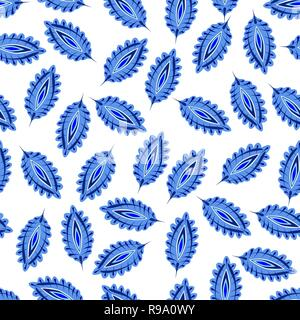 Stylized colorful leaves seamless pattern. Folk boho universal texture. Hand drawn vector decorative floral ornamental background. - Stock Photo