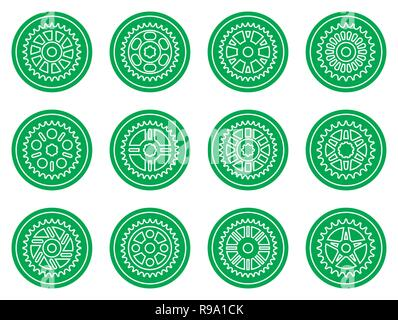 Set of sprocket icons on green background. Silhouette vector - Stock Photo