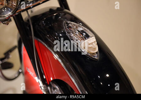 Los Angeles, CA / USA - Jan. 9, 2017: The detail of a motorcycle fender ornament on a restored Indian Roadmaster is shown in a closeup view. - Stock Photo