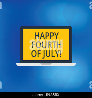 Writing note showing Happy Fourth Of July. Business photo showcasing United States of America independence day celebration Laptop Monitor Personal Com - Stock Photo