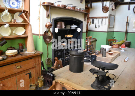 The Kitchens inside Lord Montagu's Palace House at Beaulieu National Motor Museum and Gardens, New Forest, Hampshire, UK - Stock Photo