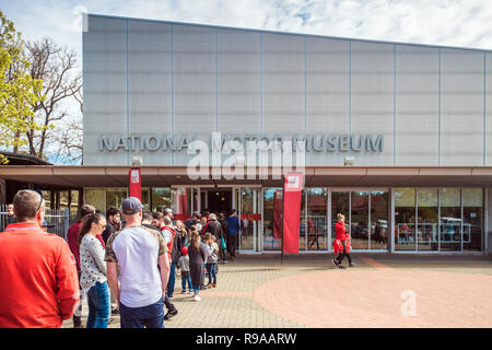 Birdwood, South Australia - September 10, 2017: People lined up in queue at the entrance to National Motor Museum of South Australia on a day - Stock Photo