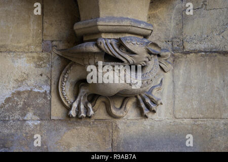 LONDON, ENGLAND - JULY 15, 2018. Gargoyle carved on one of the external walls of Westminster Abbey founded by Benedictine monks in 960AD, Westminster